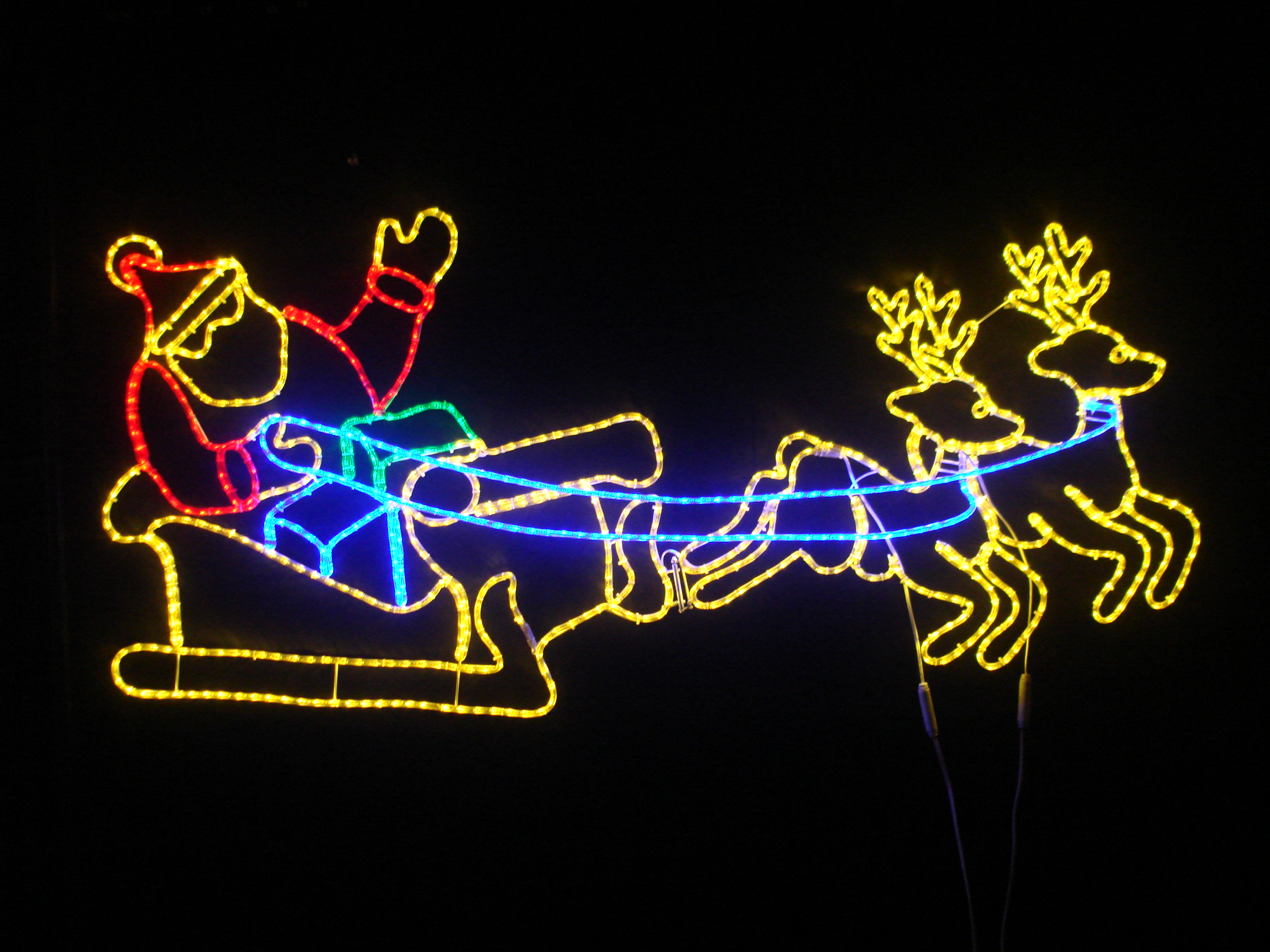 LED Pair Deer Pull Santa Sleigh